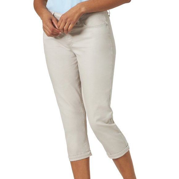14 Plus size 12 16 NEW denim Riders by Lee cuffed belted Capri Mid-rise